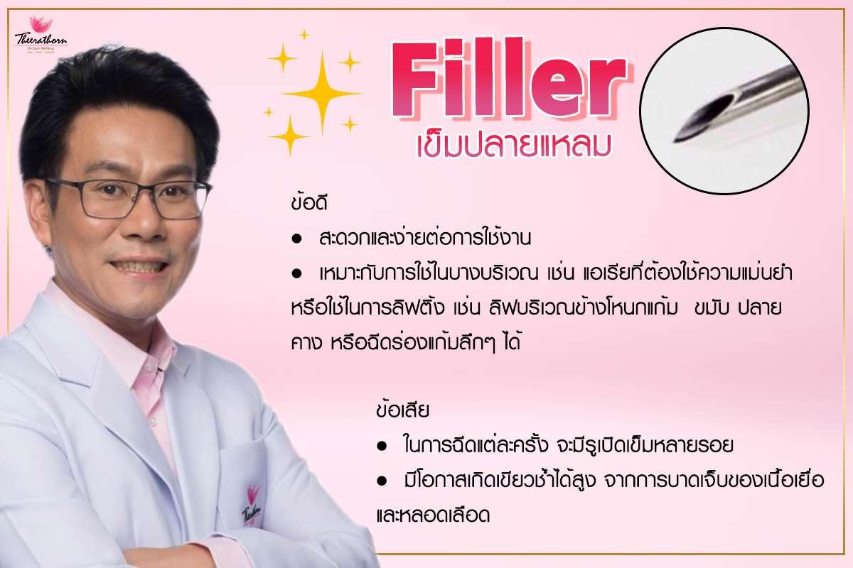 ฟิลเลอร์-ใช้เข็มทู่ฉีดฟิลเลอร์-ใช้เข็มแหลมฉีดฟิลเลอร์-ทำไมต้องฉีดฟิลเลอร์กับหมอกัน-หมอกัน-ธีระธรฌ์คลินิก